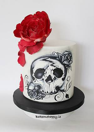 Hand painted skull cake - Cake by Elaine Boyle....bakemehappy.ie