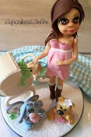 Preggy Lady Cake Topper - Cake by Cupcakes2Delite