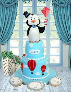 Baby shower penguin! - Cake by Artym