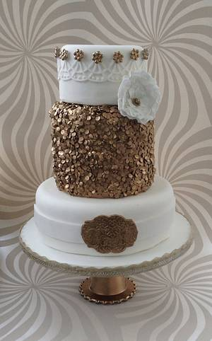 Gold edible sequins !! - Cake by The lemon tree bakery