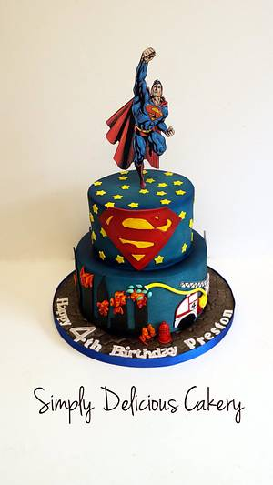 Superman/fire truck  - Cake by Simply Delicious Cakery
