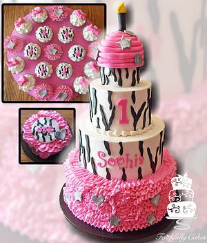 Zebra Print Ruffles Birthday - Cake by FaithfullyCakes