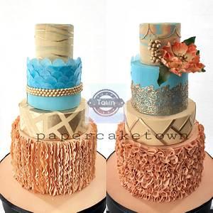 Master wedding cake with 2 sclupter upside and othersids  - Cake by sheenam gupta