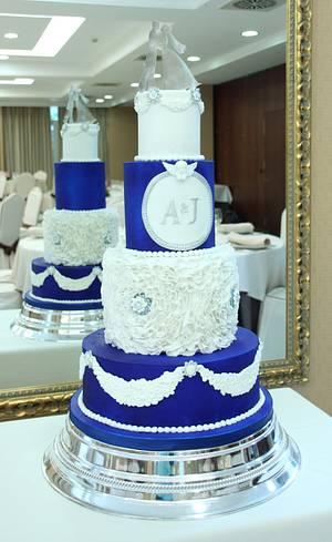 Royal blue and white Wedding Cake - Cake by Artym