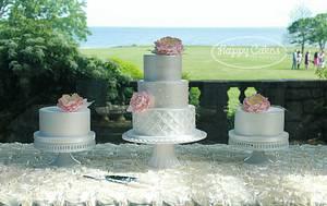 White Satin & Pink Peonies - Cake by Renee