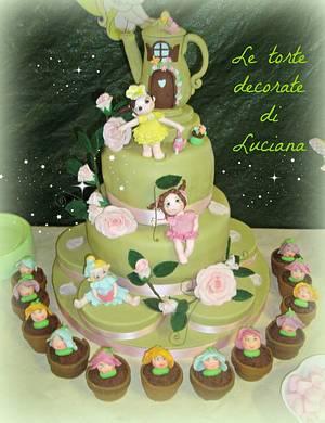 garden fairies cake & sweet table - Cake by luciana