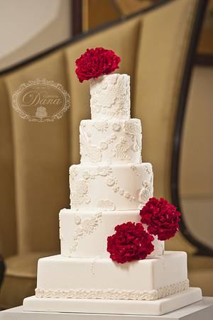 Sugar peonies lace wedding cake - Cake by Cofetaria Dana