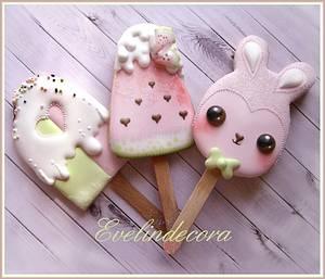 Kawaii popsicle cookies - Cake by Evelindecora