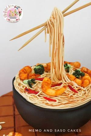 Shrimp and broccoli spaghetti - food cake challenge - Cake by Mero Wageeh