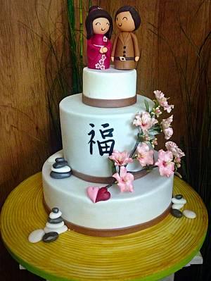 Japanese theme wedding cake - Cake by Simone Barton