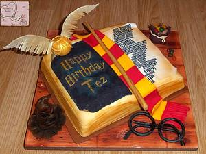 Harry Potter open book cake with Harry Potter edible accesories - Cake by Emmazing Bakes