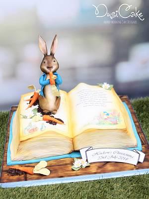 Peter Rabbit Open Book Christening Cake - Cake by DusiCake