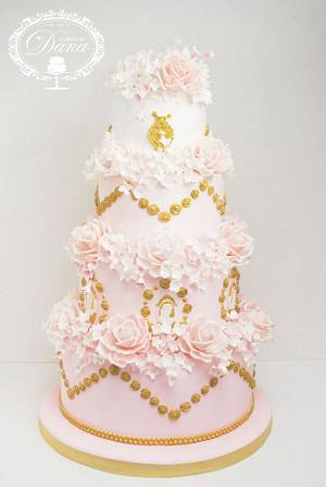 Wedding cake whith roses and hydragea - Cake by Cofetaria Dana