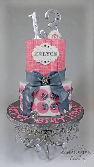 Pink and grey girlie cake - Cake by CuriAUSSIEty  Cakes