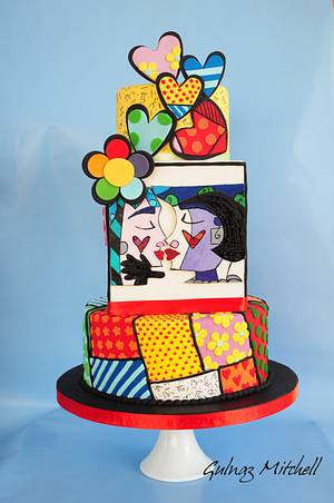 """""""Sweetheart""""cake inspired by Romero Britto - Cake by Gulnaz Mitchell"""