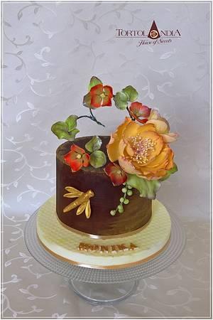Ganache & sugar flowers - Cake by Tortolandia