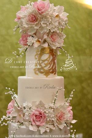 5 Tier Floral Wedding Cake - Cake by D Cake Creations®