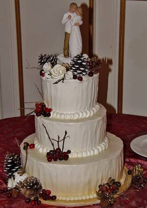 Winter wedding cake berries and pine cones - Cake by Nancys Fancys Cakes & Catering (Nancy Goolsby)