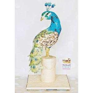 Beaded Peacock - Cake by Sugar Street Studios by Zoe Burmester
