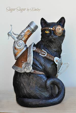 Trigger The Cat - Steam Cakes Steampunk Collaboration - Cake by Sandra Smiley