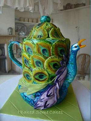 Peacock Teapot - Cake by Julie, I Baked Some Cakes