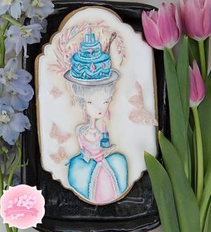 Dimensional Marie Antoinette Birthday Cookie 👒🎂👸 - Cake by Bobbie
