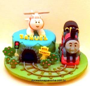 Thomas the tank engine and Harold the helicopter Cake - Cake by Crisbreim
