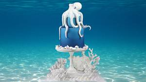 Octopus Cake for Under The Sea Sugar Art Collab - Cake by Floralilie