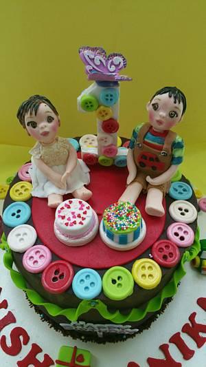1st Birthday Cake for Twins 👫 - Cake by CAKE RAGA