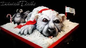 Christmas Polar Bear Cub - Cake by Vicki's Incredible Edibles