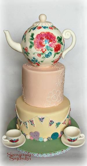 Tea Party Wedding Cake - Cake by Spongecakes Suzebakes