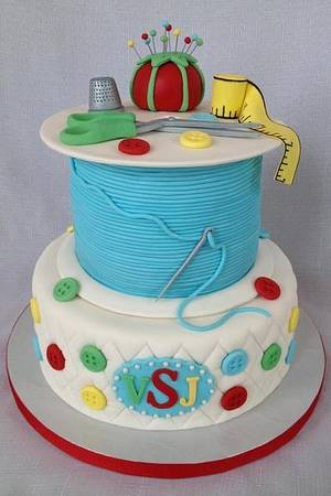 Sewing and Quilt Themed Birthday Cake - Cake by Dakota's Custom Confections