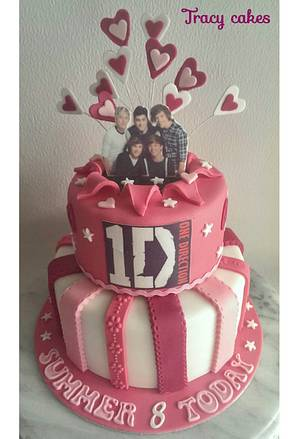 pink one direction cake - Cake by Tracycakescreations