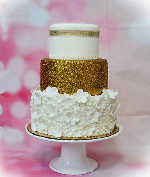 Gold and White Flowers Cake - Cake by Lea's Sugar Flowers