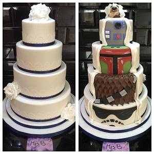 Two Sided Reveal Star Wars Wedding Cake - Cake by Sarah Belford - Mrs B Bakes Cakes