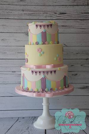 Pastel buttons Baptism cake  - Cake by Cakes o'Licious