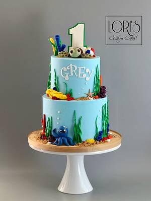 First birthday beach theme - Cake by Lori Mahoney (Lori's Custom Cakes)