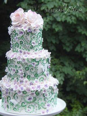 lime green and purple wedding cake - Cake by Rebekah Naomi Cake Design