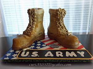 Army boots cake - Cake by CuriAUSSIEty  Cakes
