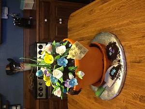 Mom's pot of flowers - Cake by kimma
