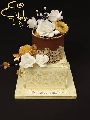 Vanilla, milk chocolate and roses for anniversary - Cake by Diana