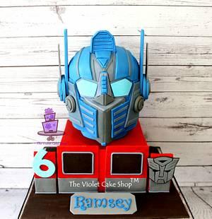 Transformers OPTIMUS PRIME 3D HELMET Cake - Cake by Violet - The Violet Cake Shop™