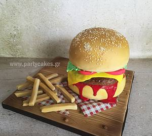 Burger & Chips - Cake by Cakes By Samantha (Greece)