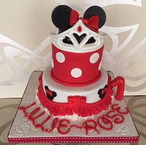 Mini mouse first birthday - Cake by Jill saunders