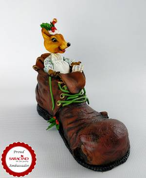 Christmas Mouse in shoe - Saracino Xmas Tree  - Cake by Calli Creations