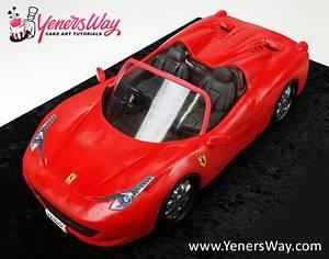 3D Convertible Ferrari 458 Spider Cake - Cake by Serdar Yener   Yeners Way - Cake Art Tutorials
