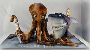 Octopus and Shark - Cake by Dorothy Klerck