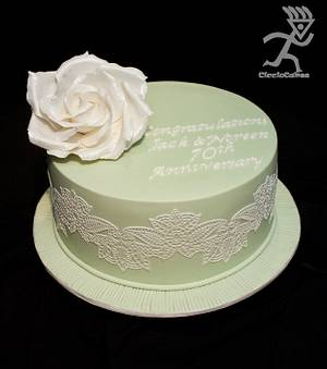 70th Wedding Anniversary Green & white Lace - Cake by Ciccio Cakes