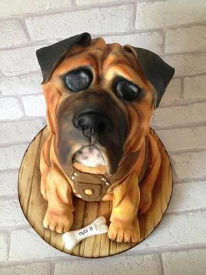 Archie the bulld dog 100% cake british bull dog cake - Cake by Edible Essence Cake Art