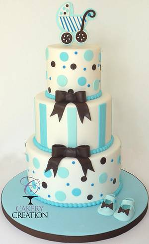 Baby Shower cake: blue, brown and white - Cake by Cakery Creation Liz Huber